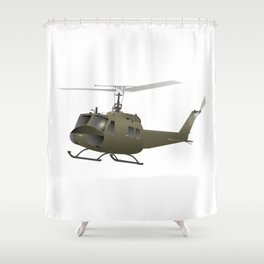 UH-1 Huey Helicopter Shower Curtain