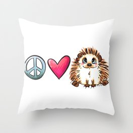 Peace, Love and Hedgehogs Throw Pillow