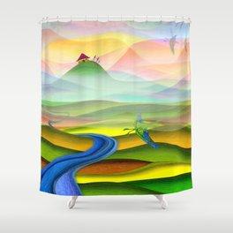 Fantasy valley naive artwork Shower Curtain