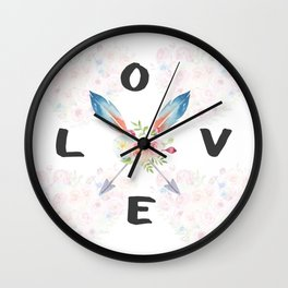 Watercolor Roses Arrows Love Typography Wall Clock