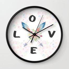 Watercolor Roses Arrows Love Typography Wall Clock