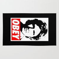 han solo Area & Throw Rugs featuring Obey Han Solo - Star Wars by Yiannis