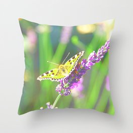 Butterfly and lavender Throw Pillow