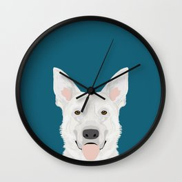 German Shepherd - White cute dog portrait Wall Clock