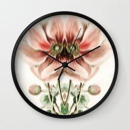 Botanical Flower Glitch IV Wall Clock