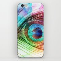 peacock feather iPhone & iPod Skins featuring Peacock Feather by Klara Acel