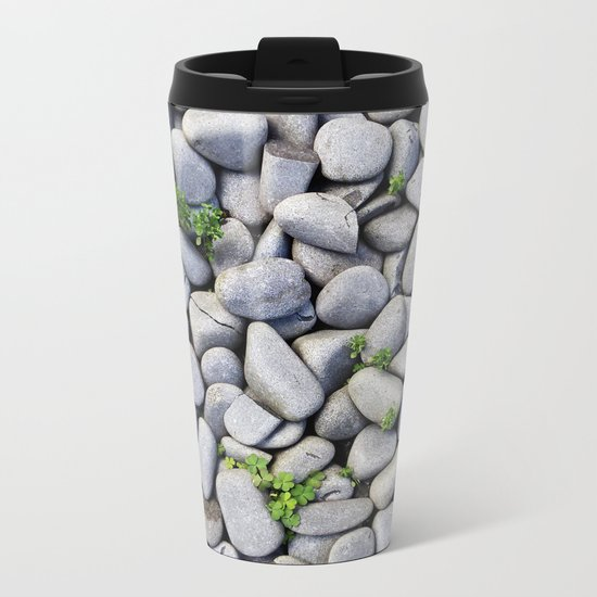 Sea Stones - Gray Rocks, Texture, Pattern Metal Travel Mug