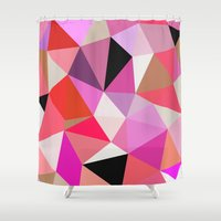 lipstick Shower Curtains featuring Lipstick Tris by Beth Thompson