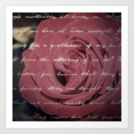 Antique Red Rose with Text Art Print