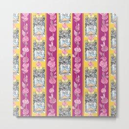 Floral Tarot Pattern - The Lovers Metal Print