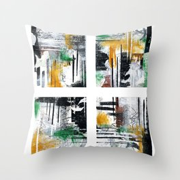 Olive With Ochre Times Four Throw Pillow
