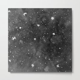 Watercolor galaxy - black and white Metal Print