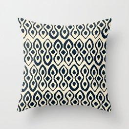 brocade indigo ivory Throw Pillow