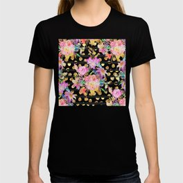 Elegant spring flowers and stripes design T-shirt