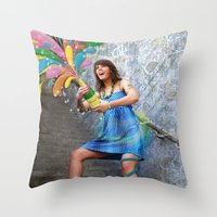 champagne Throw Pillows featuring Champagne by Lindella