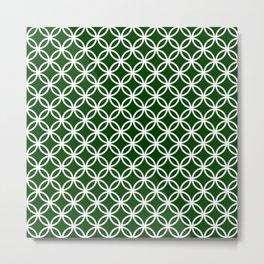 Dark green and white interlocking circles Metal Print