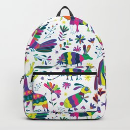 Whimsical Mexican Otomi Style Bright Pattern Backpack