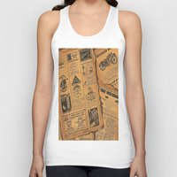 newspaper Tank Tops featuring old newspaper by Marianna Burk