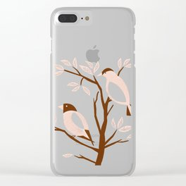 Burnt Orange Mid Century Birds On Branches Clear iPhone Case