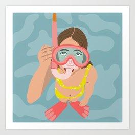 Scuba Girl Art Print