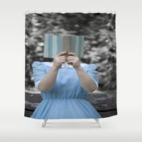 50s Shower Curtains featuring Reading by Maria Heyens