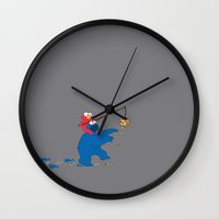 cookie monster Wall Clocks featuring Cookie Monster Donkey by OneWeirdDude