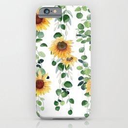Eucalyptus and Sunflowers Garland  iPhone Case