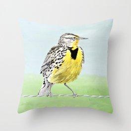 Wyoming Meadowlark Bird Art Throw Pillow