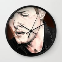 dean winchester Wall Clocks featuring Dean Winchester by Brandi