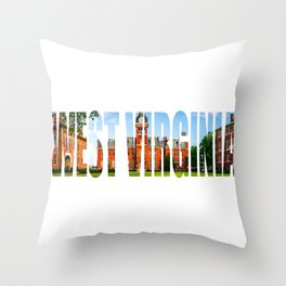 West Virginia Campus Lettering Print Throw Pillow
