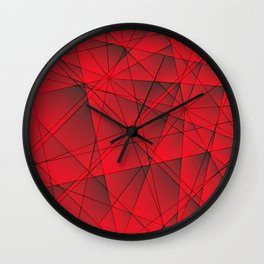 Geometric web of red lines with cross triangular highlights. Wall Clock
