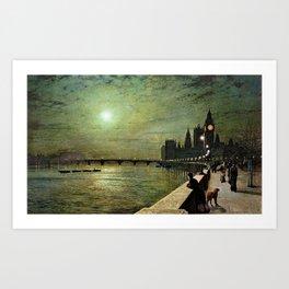 Reflections on the Thames River, London by John Atkinson Grimshaw Art Print