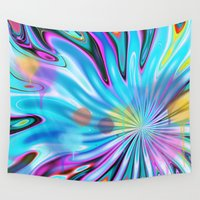 water colour Wall Tapestries featuring Abstract splash and water colour droplets by thea walstra