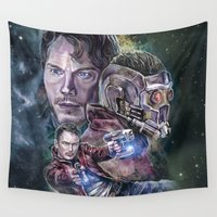 star lord Wall Tapestries featuring Star Lord - Galaxy Guardian by Nina Palumbo Illustration