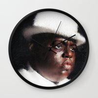 biggie smalls Wall Clocks featuring Biggie Smalls by André Joseph Martin