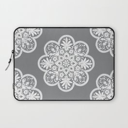 Floral Doily Pattern | Grey and White Laptop Sleeve
