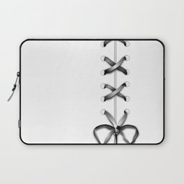 Laced Gray Ribbon on White Laptop Sleeve