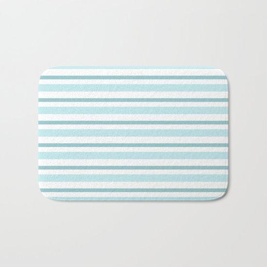 Stripes Lines horizontal - different colors of blue aqua #Society6 Bath Mat