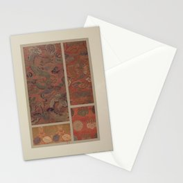 Verneuil - Japanese paper and fabric designs (1913) - 64: Dragon; birds; plants; rosettes; paulownia Stationery Cards