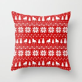 Staffordshire Bull Terrier Silhouettes Christmas Holiday Pattern Throw Pillow