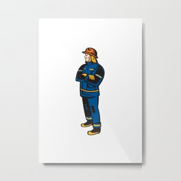 Fireman Firefighter Folding Arms Retro Metal Print