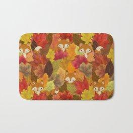 Foxes Hiding in the Fall Leaves - Autumn Fox Bath Mat