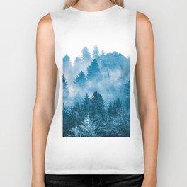 Blue Foggy Forest Adventure #46 Biker Tank