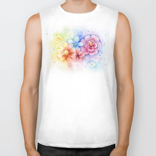 Flowers Watercolor Floral Colorful Rainbow Painting Biker Tank