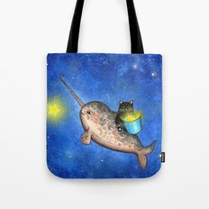 Hanging Stars with a Friendly Narwhal Tote Bag