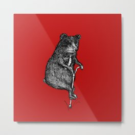 Ride On Bear_red Metal Print