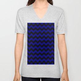 Black and Navy Blue Horizontal Zigzags Unisex V-Neck