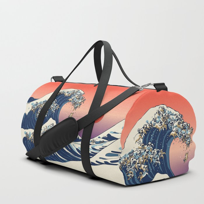 pug wave the great wave of pug duffle bag by huebucket society6 4521