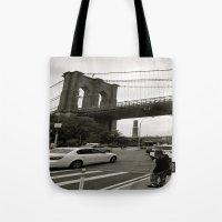 brooklyn bridge Tote Bags featuring Brooklyn Bridge by Grace