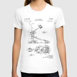 Drum Pedal Patent - Drum Set Art - Black And White T-shirt